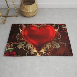 Gothic Red Rose Heart Rug