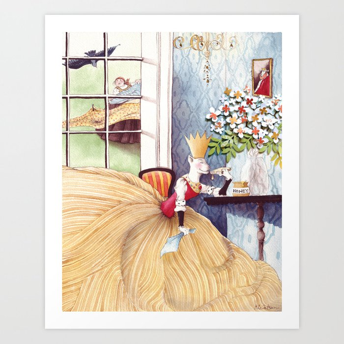 The Queen was in the parlor Eating bread and honey Art Print