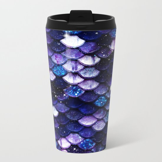 Mermaid Glitter Scales Metal Travel Mug
