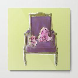 animals in chairs #13 Bunnies Metal Print