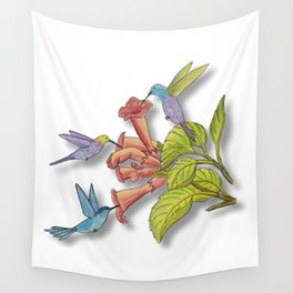Hummingbirds and Trumpet Flowers Wall Tapestry