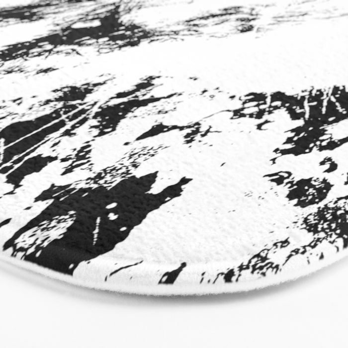 Spilt White Textured Black And White Abstract Painting Bath Mat