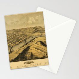 Bird's Eye View of Grand Haven, Michigan (1868) Stationery Cards