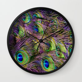 art nouveau bohemian turquoise purple teal green peacock feather Wall Clock