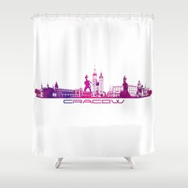 Cracow skyline city purple Shower Curtain