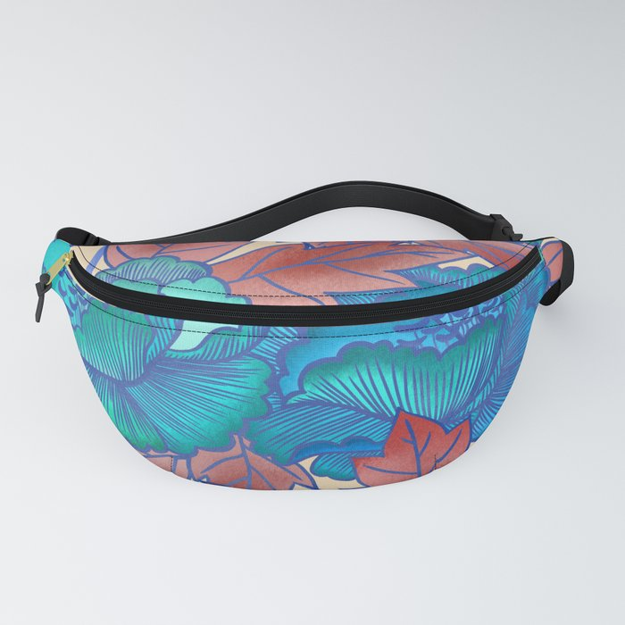 Peonies and Stripes Pattern - Blue, Purple,Yellow Fanny Pack
