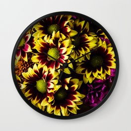 Yellow and Pink Flower Bouquet Wall Clock