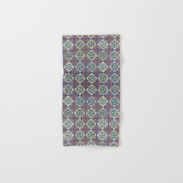 Floral tile Green Violet Hand & Bath Towel