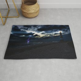 Twilight Lightning and Lighthouse Landscape by Jeanpaul Ferro Rug