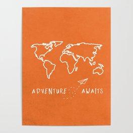 Adventure Map - Retro Orange Poster