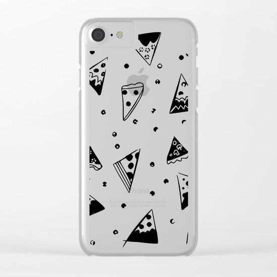 Hipster pizza seamless drawing Clear iPhone Case