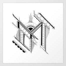 'M' Bali Alphabet Illustration by Hannah Stouffer Art Print