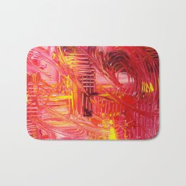 THE TANGO - BOLD Bright and Beautiful, Modern Abstract Painting Dance Home Decor Red Yellow Bath Mat