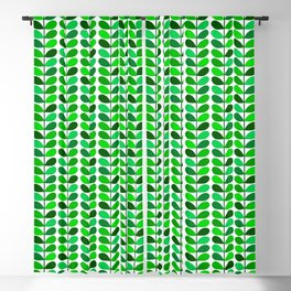 Mid Century Danish Leaves, Emerald and Lime Green Blackout Curtain