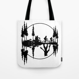 Upside down, Steve and the gang on bicycles, Stranger thing gift Tote Bag