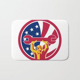 American Mechanic USA Jack Flag Icon Bath Mat