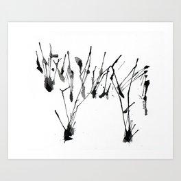 zebra ink splatter Art Print