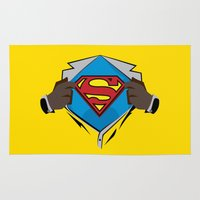 superman Area & Throw Rugs featuring Superman  by Wave Sports