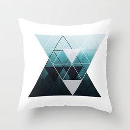 Geometrical Triangles Misty Trees Throw Pillow
