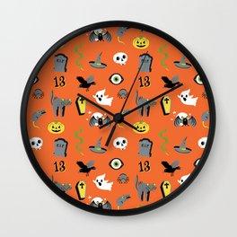 Halloween pattern in orange Wall Clock