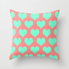 Hearts of Love Coral Mint  Throw Pillow