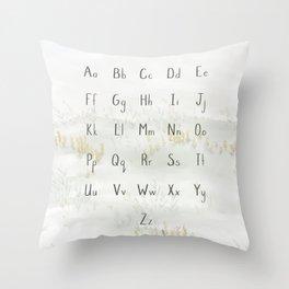 A Quiet Meadow Printed Alphabet Throw Pillow