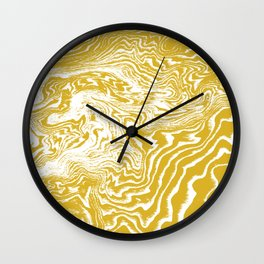 Suminagashi 2 gold and white marble spilled ink ocean swirl watercolor painting Wall Clock