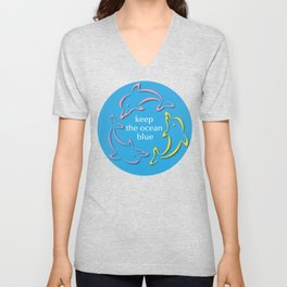Keep the Ocean Blue_Dolphins rotating Unisex V-Neck