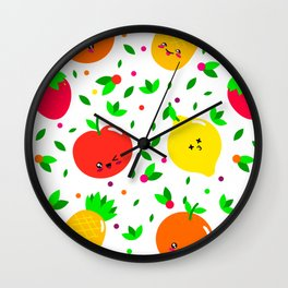 Cute & Whimsical Fruit Pattern with Kawaii Faces Wall Clock