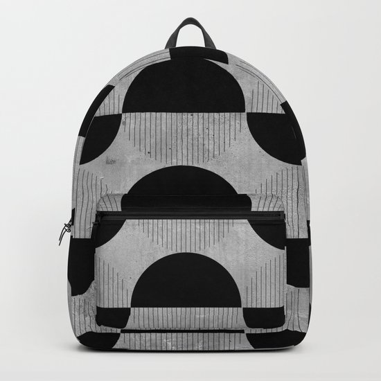 Black abstract 60s circles on concrete -Mix&Match with Simplicty of life Backpack