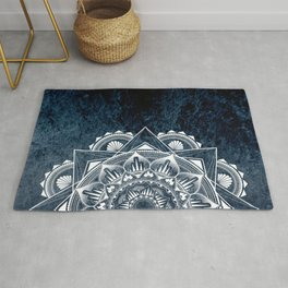 White Mandala on Dark Blue/Navy Galaxy Rug