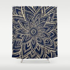 Cute Retro Gold abstract Flower Drawing  geometric Shower Curtain