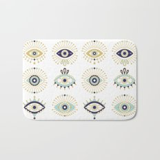 Evil Eye Collection on White Bath Mat