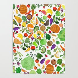 Fruit and Veg Pattern Poster