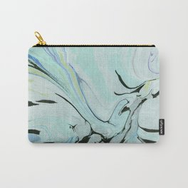 Soft Blue & Black Marbling Carry-All Pouch