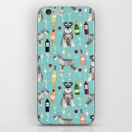 Schnauzer wine champagne cocktails rose dog breed pattern iPhone Skin