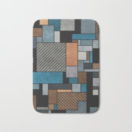 Colorful random pattern - blue, grey, brown Bath Mat