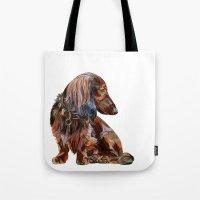 dachshund Tote Bags featuring Dachshund by Anne Hviid Nicolaisen