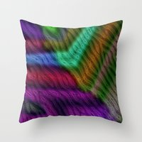 knit Throw Pillows featuring Knit by RingWaveArt