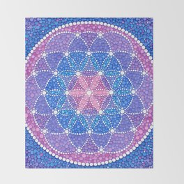 Starry Flower of Life Throw Blanket