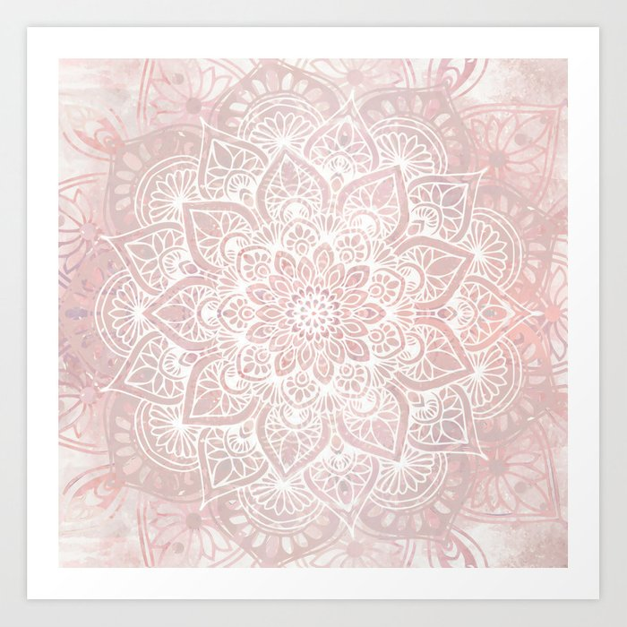 Mandala Yoga Love, Blush Pink Floral Kunstdrucke