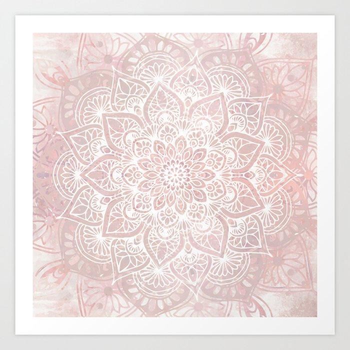 Mandala Yoga Love, Blush Pink Floral Art Print