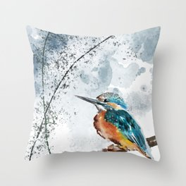 Kingfisher Chinese Style Original Watercolor Painting Design Throw Pillow