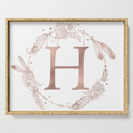 Letter H Rose Gold Pink Initial Monogram Serving Tray