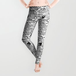 Doodle clouds and swallows. Cloudscape pattern with birds. Leggings
