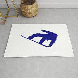 Snowboard Jumping Silhouette Rug