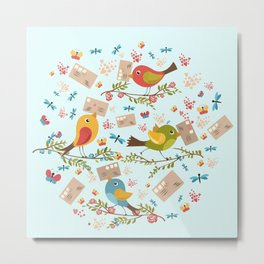 Special Springtime Delivery From Little Birds Pattern Metal Print