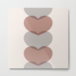Hearts - Cocoa & Gray Metal Print