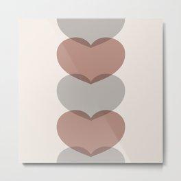 Hearts - Cocoa & Gray Metal Print