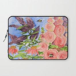 Cottage Garden Butterfly Bush Watercolor Illustration Laptop Sleeve